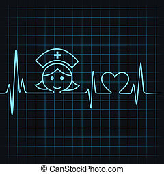 Heartbeat make nurse face and heart symbol stock vector