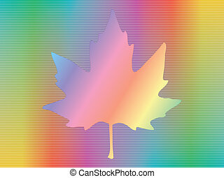 hologram with maple leaf - maple leaf over spectrum...
