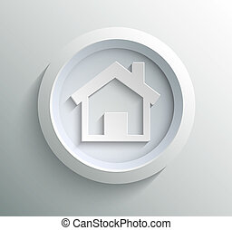 Icon home - App icon metal home with shadow on technology...