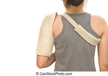 woman wearing a shoulder brace