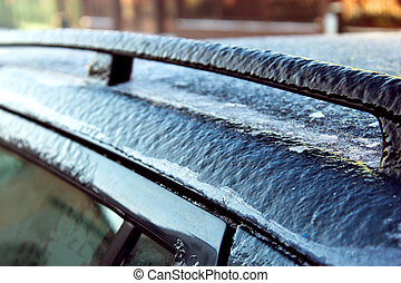 Icy roof of the car.