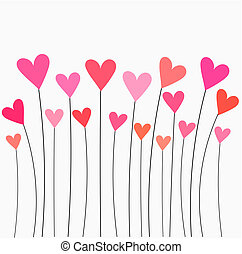 Hearts growing - Hearts pink and red balloons - vector...