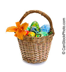 easter eggs in basket - colorful easter eggs in basket...