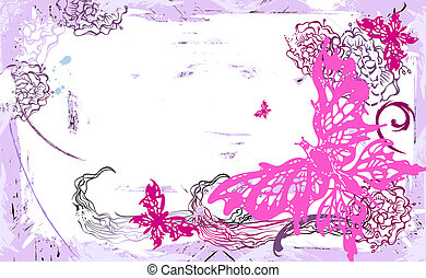 Vector horizontal card with butterflies and flowers - Vector...