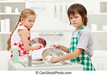 Kids having to do the dishes - Kids with grumpy faces...