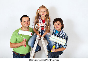 The home improvement squad - ready to paint a room
