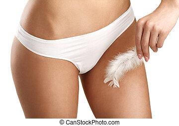 closeup, mulher, mostrando, perfeitos, Liso, pernas