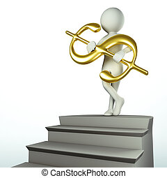 3D man at the top of the stairs holds golden dollar sign