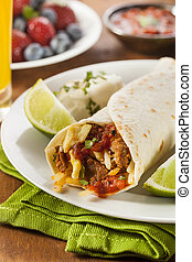 Hearty Chorizo Breakfast Burrito with Eggs, Cheese, and...