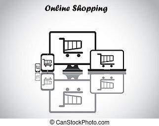 online shopping cart basket art