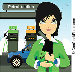 Petrol station - Women are filling oil in the pump.