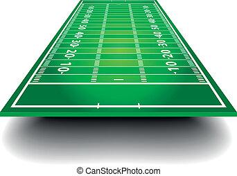americano, futebol, campo, perspectiva
