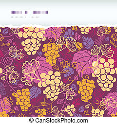 Sweet grape vines horizontal torn border seamless pattern...
