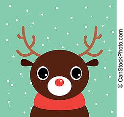 Cute cartoon christmas Deer on snowing background