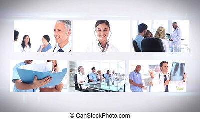 Medical team montage on white background
