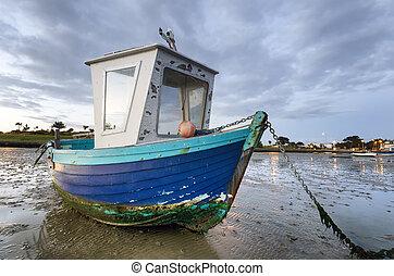 Blue Fishing Boat at Dawn