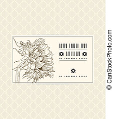 Vector vintage card with sunflower on soft beige background....