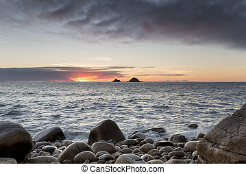 Sunset At Porth Nanven Cove - Sunset at Porth Nanven Cove...