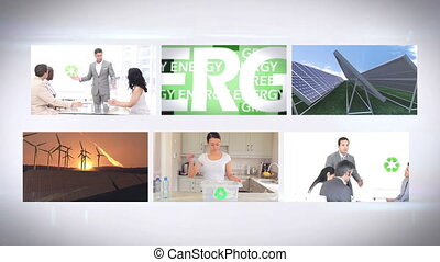 Environmentalism montage at home and in business on white...