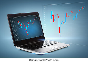 laptop computer with forex chart on desktop - technology,...