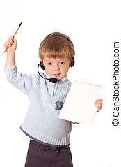 Child with headset and notebook