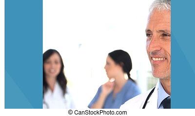 Medical business montage in blue and white