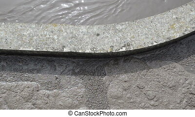 dirty water flow - Dirty sewage water flow in aerated grit...