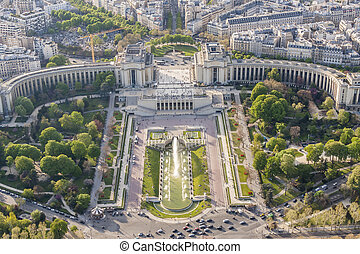 Aerial view from Eiffel Tower on Champ de Mars - Paris -...