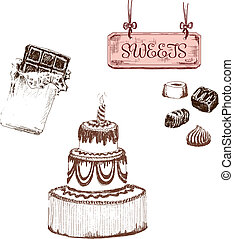 Chocolate. Set of sweets. Hand drawn illustrations.