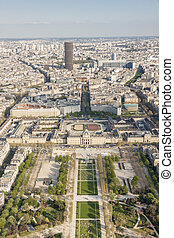 Aerial view from Eiffel Tower on Champ de Mars - Paris. -...