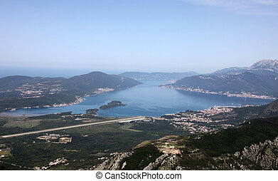 bay of Kotor and town of Tivat, Montenegro - Panorama UNESCO...