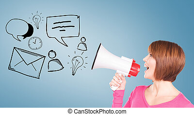 woman with megaphone - communication concept - woman with...