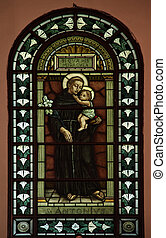 Saint Anthony of Padua, Stained glass