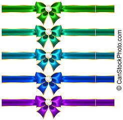 Festive bows with diamonds and ribbons - Vector illustration...