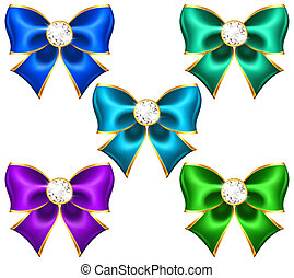 Festive bows with diamonds - Vector illustration - festive...