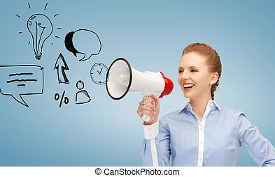 happy woman with megaphone - communication concept - woman...
