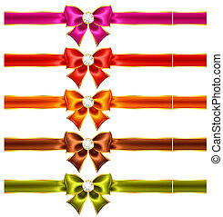 Holiday bows with diamonds and ribbons - Vector illustration...