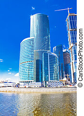 Business skyscrapers and reflections - Modern international...
