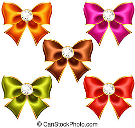 Holiday bows with diamonds - Vector illustration - holiday...