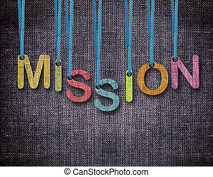 Letters hanging strings - mission Letters hanging strings...