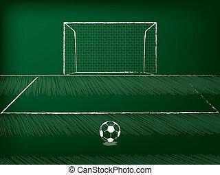 Soccer free kick theme drawn on chalkboard