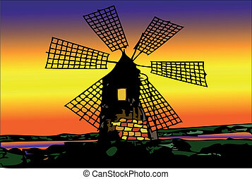 Old mill Dutch at sunset