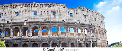 Coliseum in Rome - Panoramic view of famous ancient...