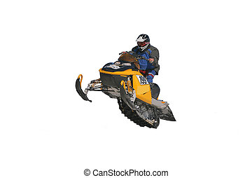 Snowmobile Racing - Insulated snowmobile. White background.