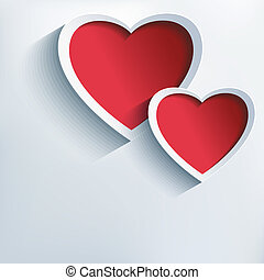 Valentines day background with two 3d hearts - Stylish...