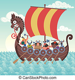 Viking Ship - Cartoon Viking ship sailing