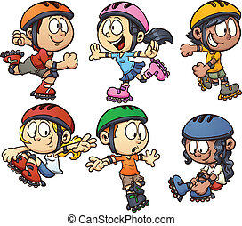 Inline skating kids. Vector cartoon clip art illustration...