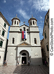 St Nicholas church on St Luke square in Kotor old town...