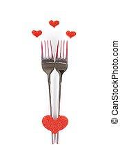 restaurant series, valentine day dinner on white background