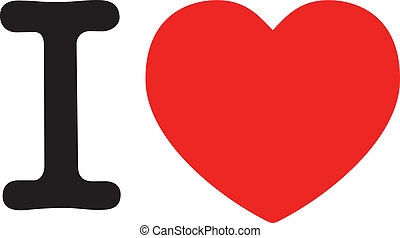I Love, big red heart symbol for Love, I Love NY style